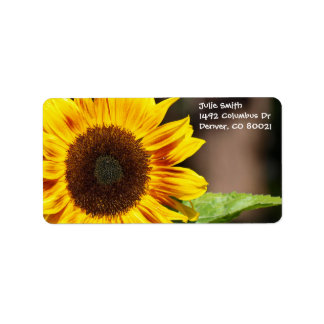 Bright Yellow Sunflower Label