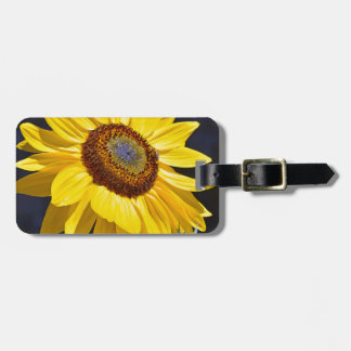 Bright yellow sunflower luggage tag