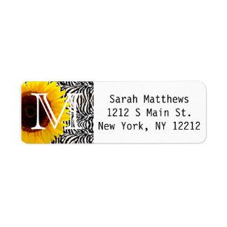 Bright Yellow Sunflower on Zebra Print Stripes