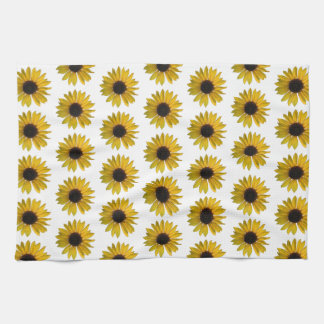 Bright Yellow Sunflower Pattern Hand Towels
