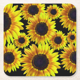 Bright Yellow Sunflower Square Paper Coaster