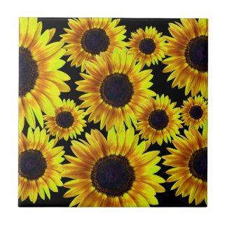 Bright Yellow Sunflower Tile