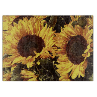 bright yellow sunflowers cutting board