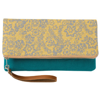Bright Yellow Vintage Floral Clutch