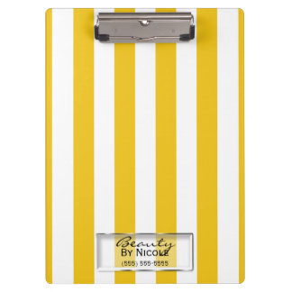 Bright Yellow & White Stripes Modern Personalized Clipboard