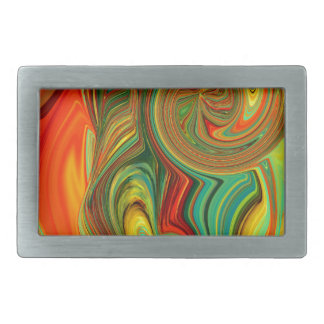 Brightly Bold Abstract Design in Swirls Rectangular Belt Buckle