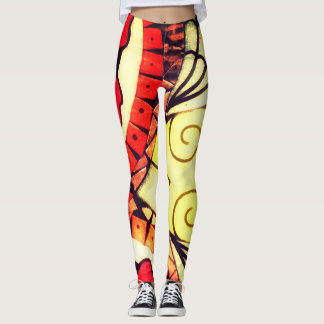 Brightly Colored Abstract Segin Leggings