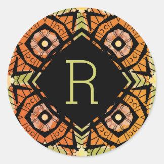 Brightly colored batik type pattern round sticker