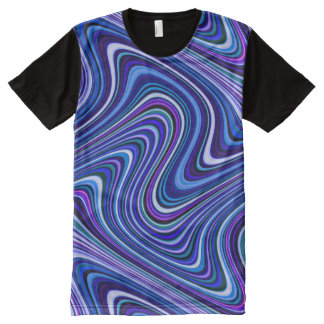 Brightly Colored Blue Shade Curvy Line Pattern All-Over-Print T-Shirt