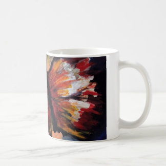 Brightly colored butterfly mug