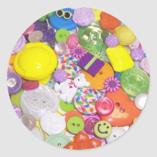 Brightly Colored Buttons Classic Round Sticker