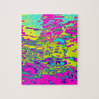 Brightly Colored Crazy Colorful Abstract Pattern Jigsaw Puzzle