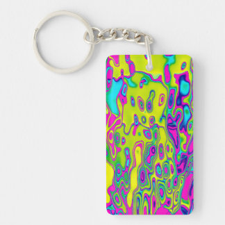 Brightly Colored Crazy Colorful Abstract Pattern Single-Sided Rectangular Acrylic Keychain