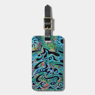 Brightly Colored Dolphins Bag Tag