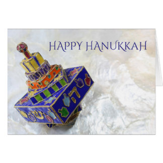 Brightly colored enameled dreidel Hanukkah card