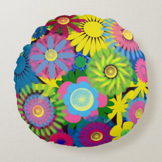 Brightly Colored Floral Pillow
