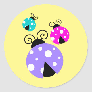Brightly Colored Ladybugs in Purple Pink and Blue Round Sticker