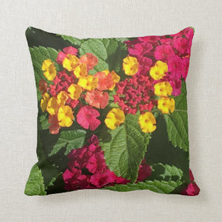 Brightly colored lantana throw pillow