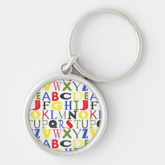 Brightly Colored Letters by Megan Meagher Silver-Colored Round Keychain