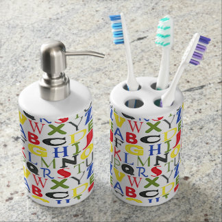Brightly Colored Letters by Megan Meagher Soap Dispenser And Toothbrush Holder