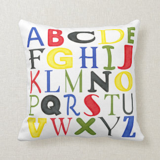 Brightly Colored Letters by Megan Meagher Throw Pillow