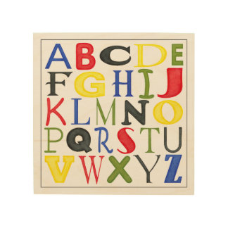 Brightly Colored Letters by Megan Meagher Wood Print