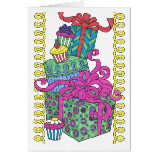 Brightly Colored Pile of Presents Card