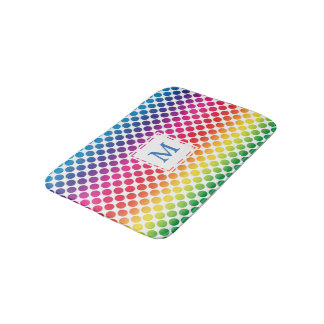 Brightly colored polka dot monogram bathroom mat