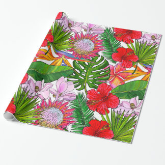 Brightly Colored Tropical Flowers and Ferns Wrapping Paper