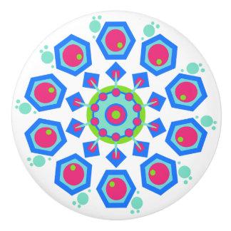 Brightly Colored White Red, Blue & Green Knob Ceramic Knob