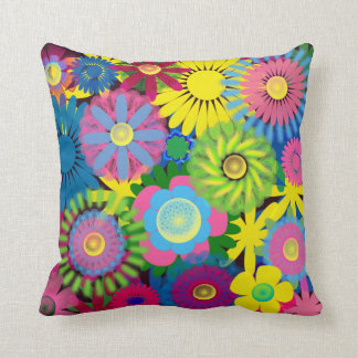 Brightly Colored Yellow Pink Blue Pillow