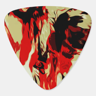 Brightly Colorful Red Black Pattern Guitar Pick