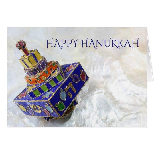 Brightly coloured enameled dreidel Hanukkah card
