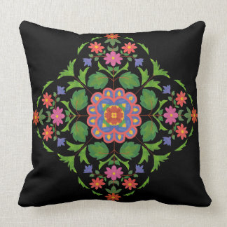 Brightly Coloured Floral Rangoli Pattern on Black Throw Pillow