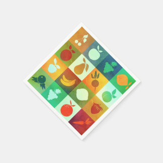 Brightly coloured fruits and vegetables napkin