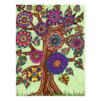 Brightly Flowering Tree of Life Postcard