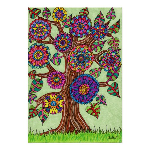 Brightly Flowering Tree of Life Poster