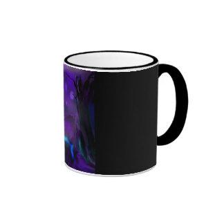 Brightly lit waterfall under dark purple sky coffee mug