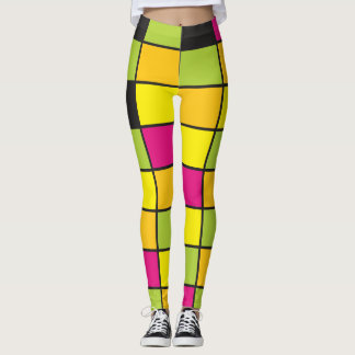 Brightly Neon Colored Squares Pattern Leggings