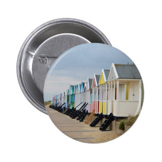 Brightly Painted Beach Huts 2 Inch Round Button