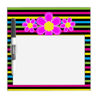 Brightly striped with pink flower dry erase white board