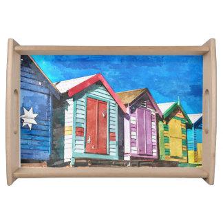 Brighton Bathing Box Watercolor Art Serving Tray