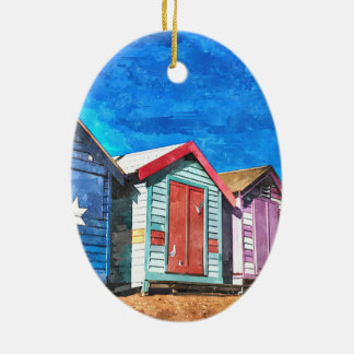 Brighton Beach Bathing Boxes Ceramic Oval Ornament