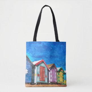 Brighton beach boxes watercolor art tote bag
