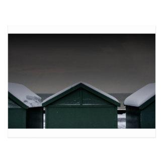 Brighton Beach huts snow Postcard