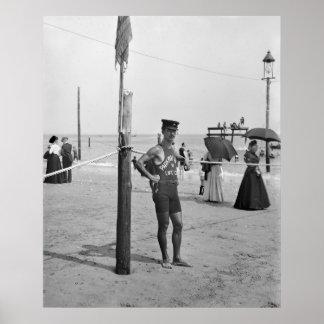 Brighton Beach Lifeguard, early 1900s Poster