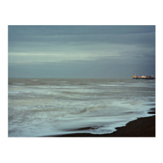 brighton pier and sea postcard