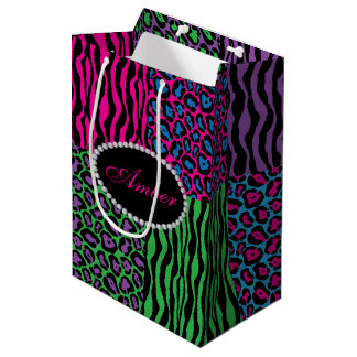 Brights Animal Print Diamonds & Name Monogram Medium Gift Bag