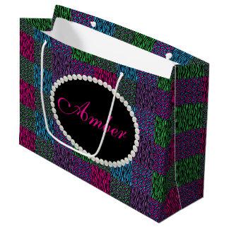 Brights Animal Print Pearl Monogram Lg Gift Bag