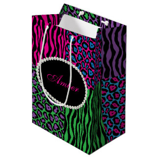 Brights Animal Print Pearls & Name Monogram Medium Gift Bag